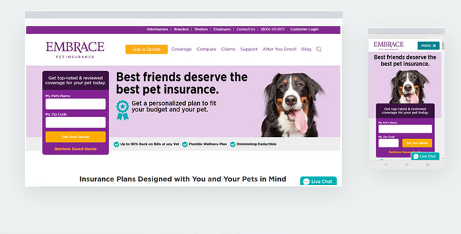 Embracepetinsurance in Sitefinity