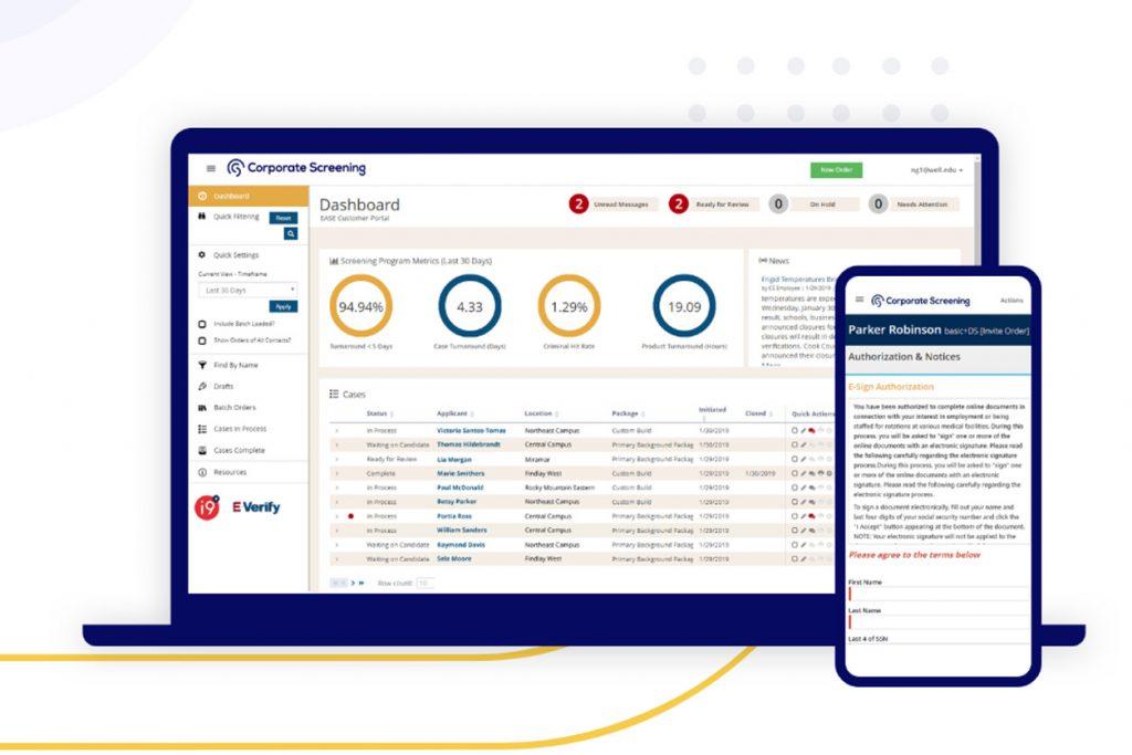 Corporate Screening screen shot