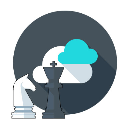 Cloud Icon with Chess Pieces