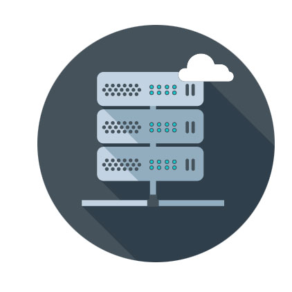 Hosting Server Icon with cloud icon