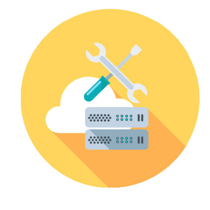 Cloud, Tools, and server icons
